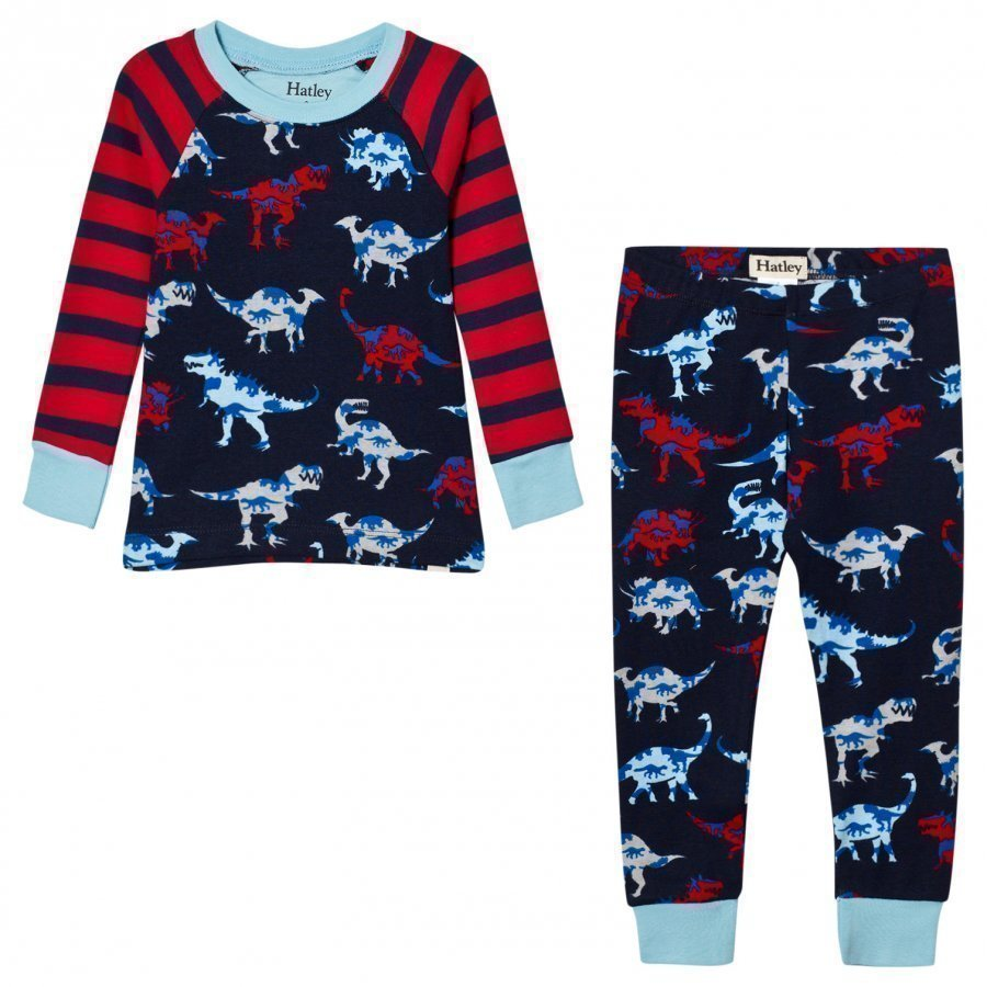 Hatley Red And Navy Raglan Dino Print Pyjamas Yöpuku