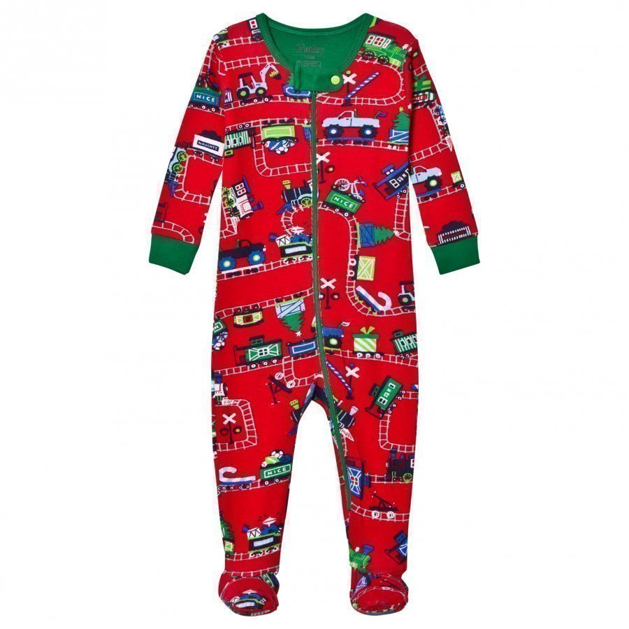 Hatley Red Train Print Footed Baby Body