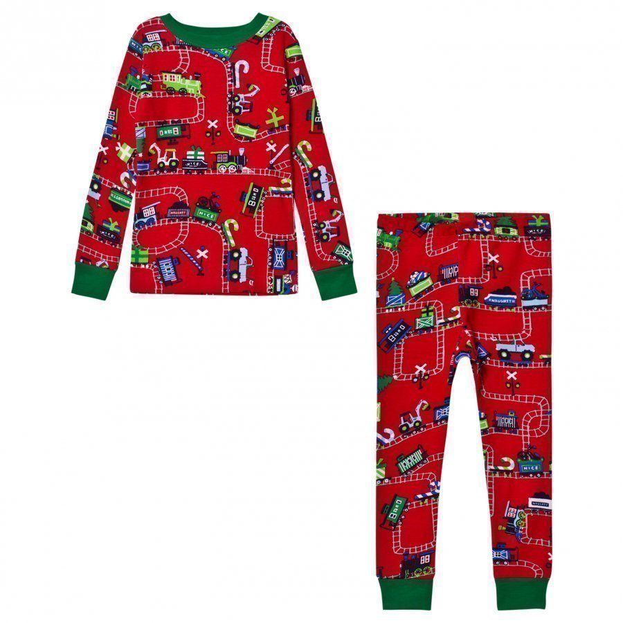 Hatley Red Train Print Pyjamas Yöpuku