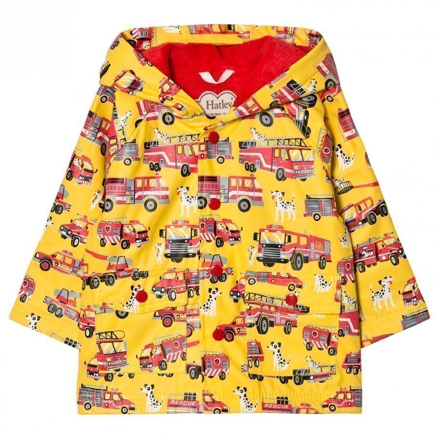Hatley Truck Print Raincoat Yellow Sadetakki