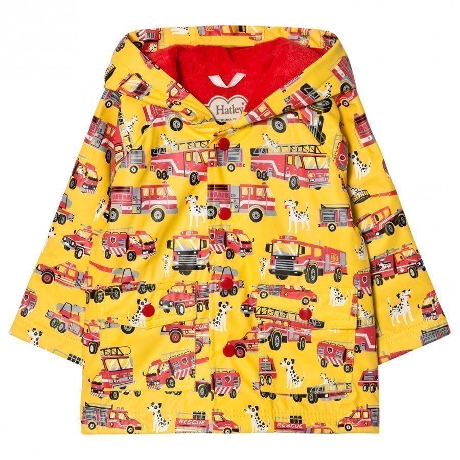 Hatley Truck Print Raincoat Yellow Sadetakki