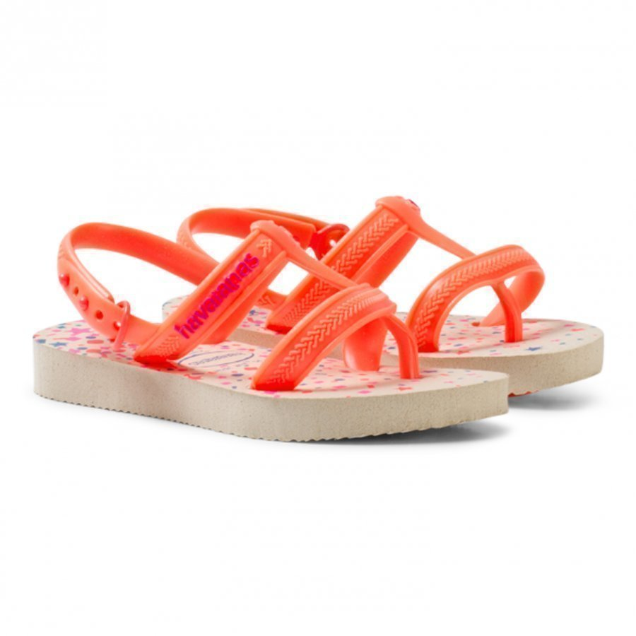 Havaianas Beige/Neon Orange Joy Spring Sling Back Flip Flops Sandaalit