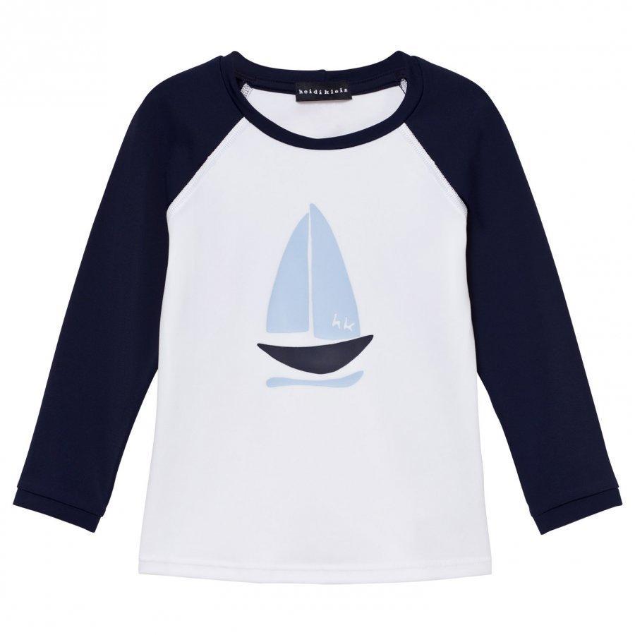 Heidi Klein White & Navy Boat Rash Vest Uv-Paita