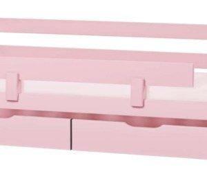 HoppeKids Ida Sohvasänky 70 x 160 cm + Turvalaita + Sängynaluslaatikko pyörillä 2 kpl Vaaleanpunainen Paketti