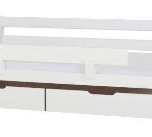 HoppeKids Ida Sohvasänky 70 x 160 cm + Turvalaita + Sängynaluslaatikko pyörillä 2 kpl Valkoinen Paketti
