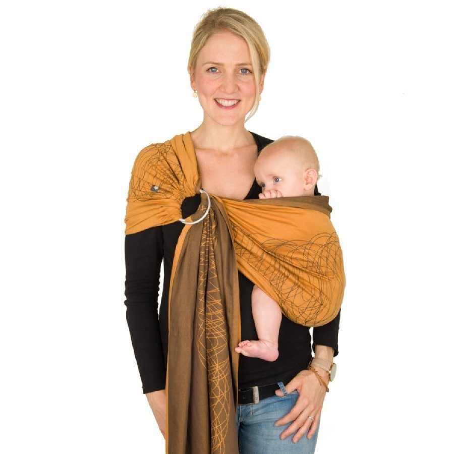 Hoppediz Ring Sling Kantoliina Jacquard New York Mocca Orange