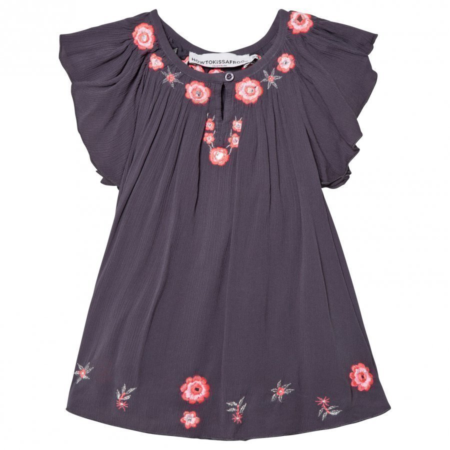 How To Kiss A Frog Forma Dress Grey Embroidery Juhlamekko