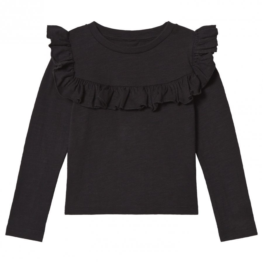 How To Kiss A Frog Frill Jumper Black Pitkähihainen T-Paita