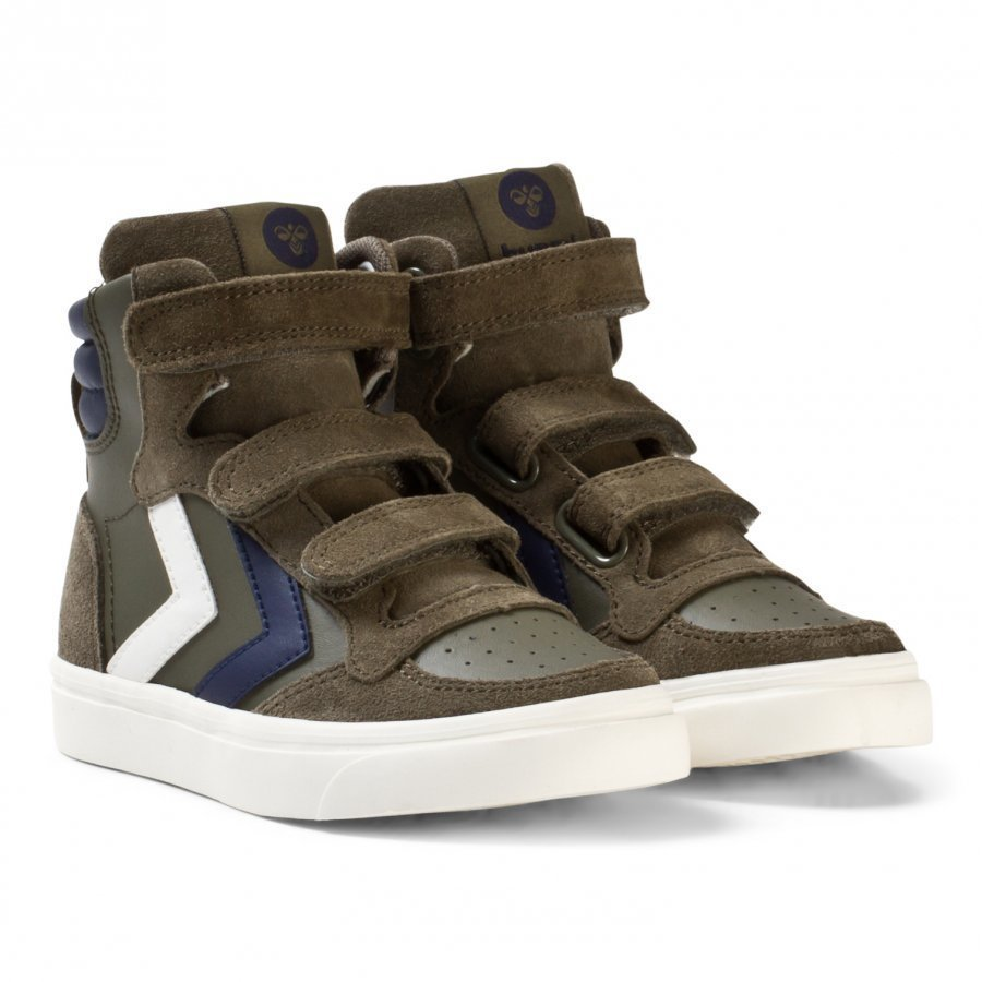 Hummel Stadil Leather Jr Trainers Olive Night Korkeavartiset Kengät