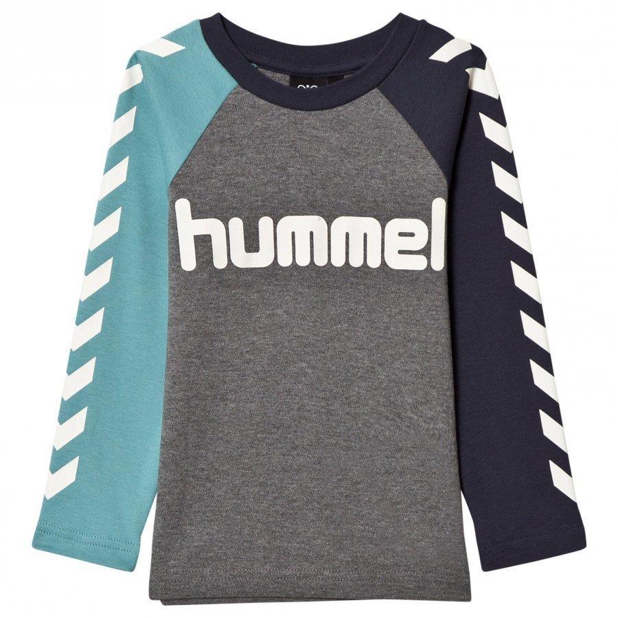 Hummelkids Lukas Long Sleeve Tee Dusty Turquoise Pitkähihainen T-Paita