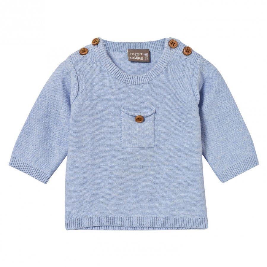 Hust & Claire Knit Jumper With Pocket Light Blue Melange Paita