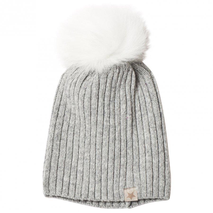 Huttelihut Knithut Rib L.Grey/White Pipo