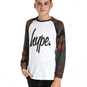 Hype Long Sleeve Script T-Shirt Valkoinen