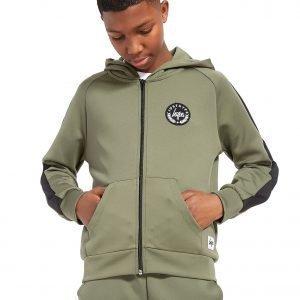 Hype Poly Full Zip Hoodie Khaki / Black