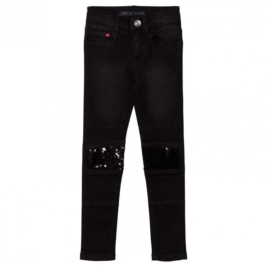Ikks Black Sequin Panelled Skinny Jeans Farkut
