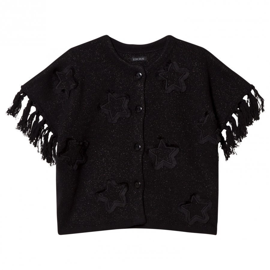Ikks Black Star Applique Knit Glitter Poncho Neuletakki