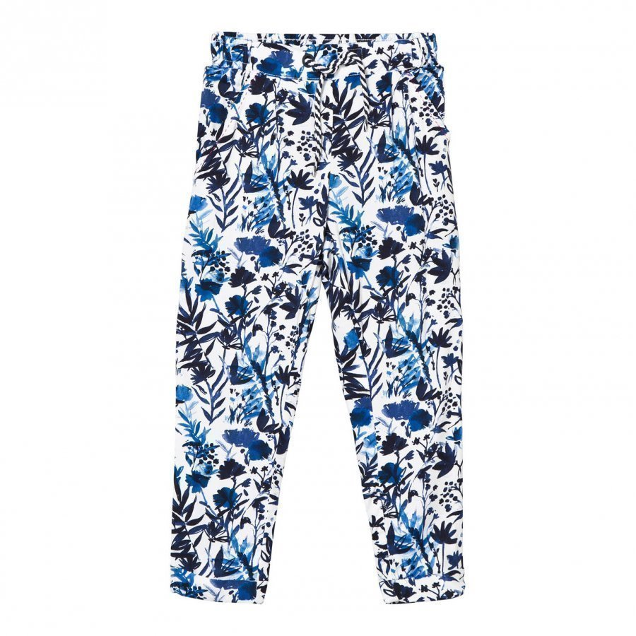 Ikks Blue Floral Print Trousers Housut