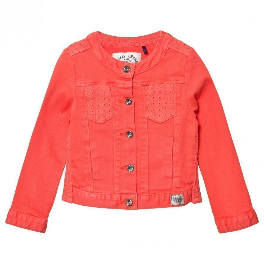Ikks Coral Denim Jacket With Broiderie Anglais Detail Farkkutakki