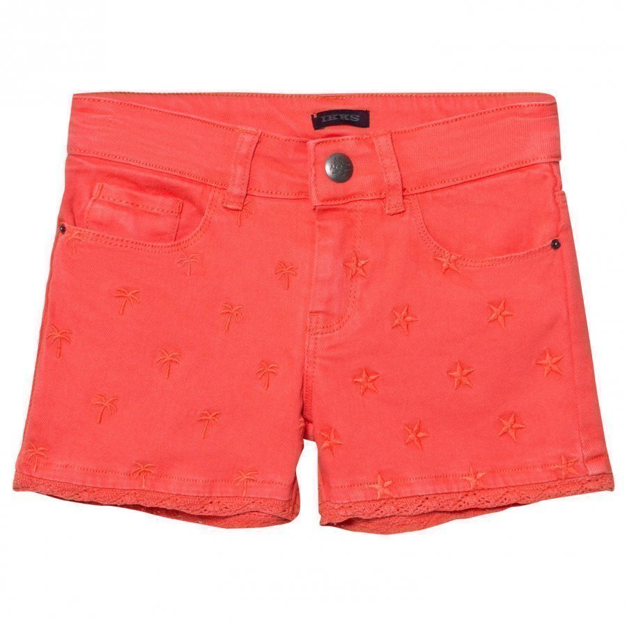Ikks Coral Star Embroidered Denim Shorts Farkkushortsit