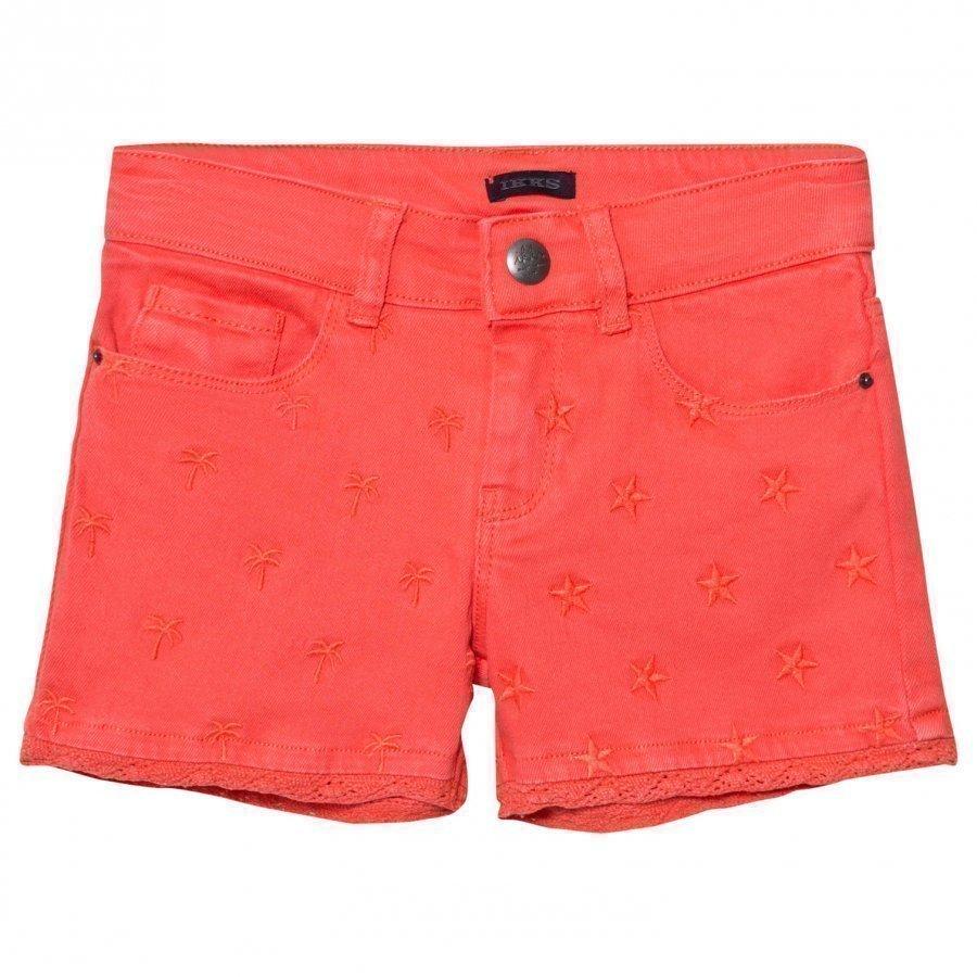 Ikks Coral Star Embroidered Denim Shorts Farkkushortsit