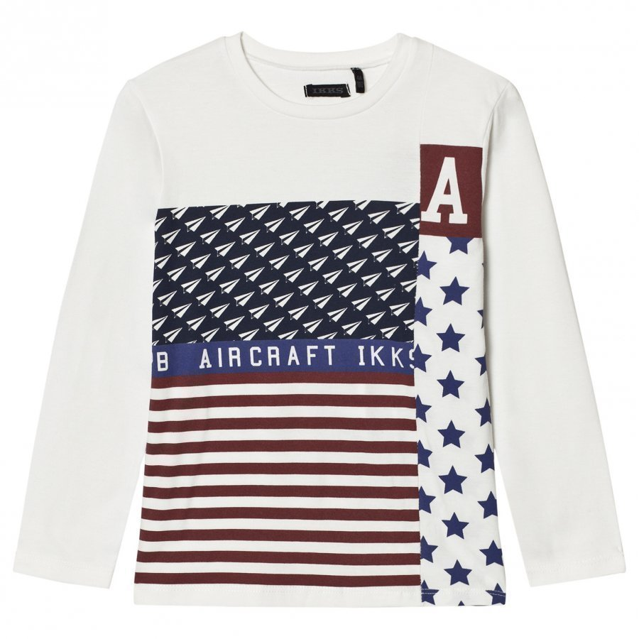 Ikks Flag And Plane Print Tee White T-Paita