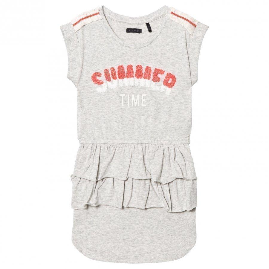 Ikks Grey Jersey Summer Time Applique Ruffle Dress Mekko