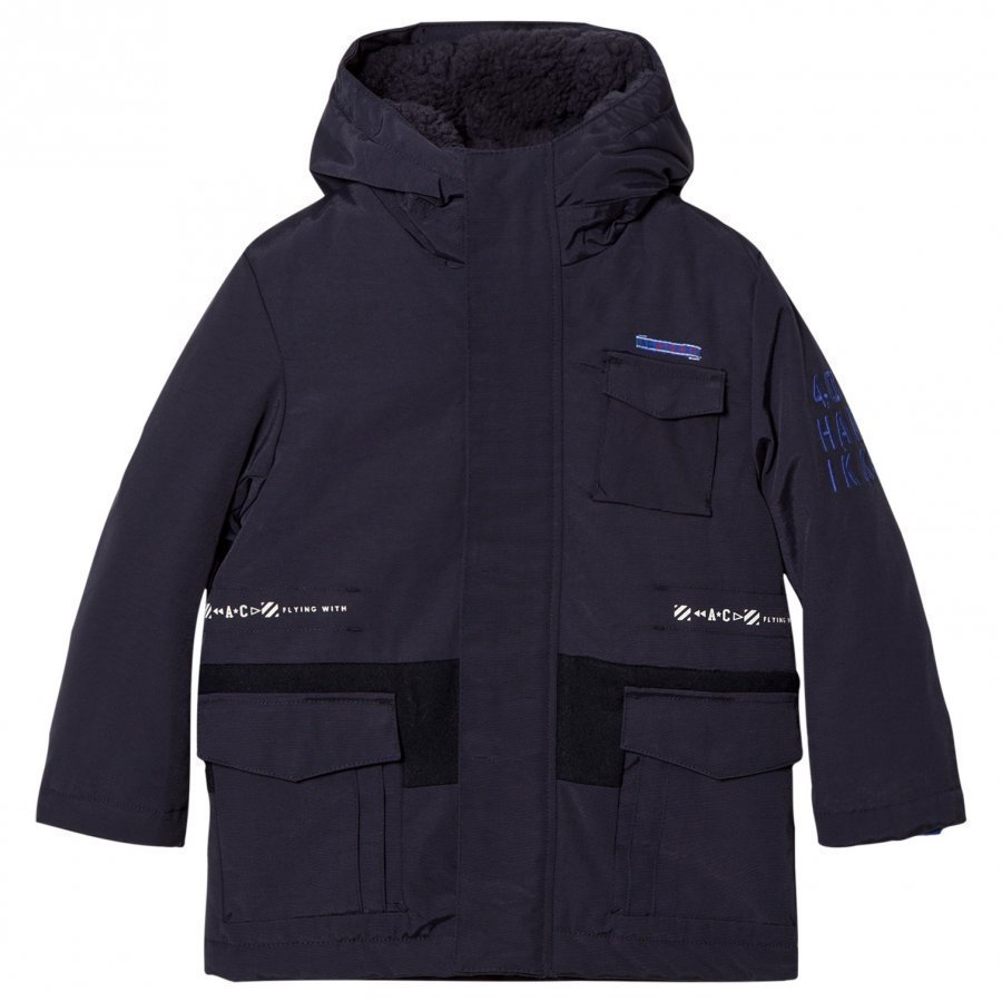 Ikks Navy 2-In-1 Hooded Parka/Bomber Jacket Parkatakki