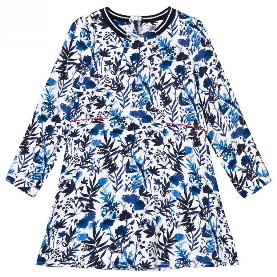 Ikks White/Blue Floral Print Dress Mekko