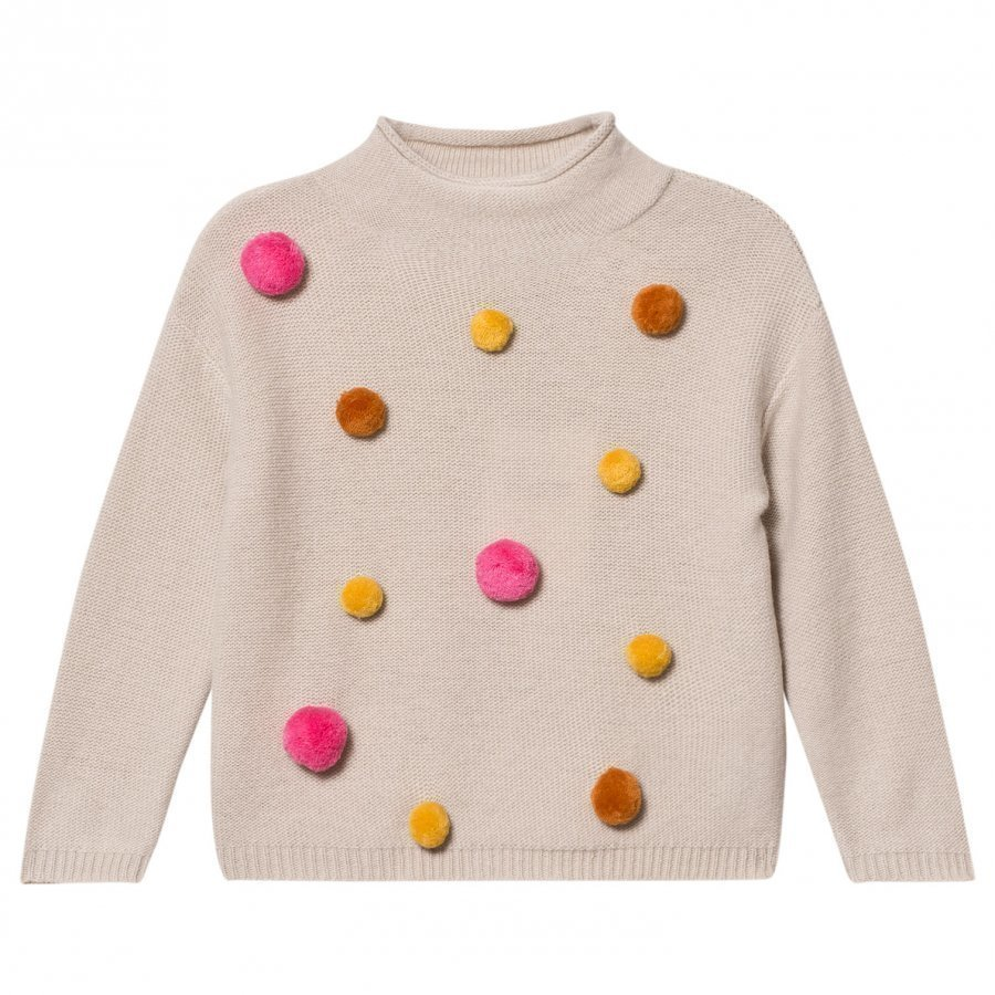 Il Gufo Beige And Multi Pom Pom Sweater Paita