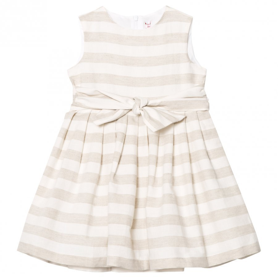 Il Gufo Beige Stripe Linen Bow Dress Juhlamekko