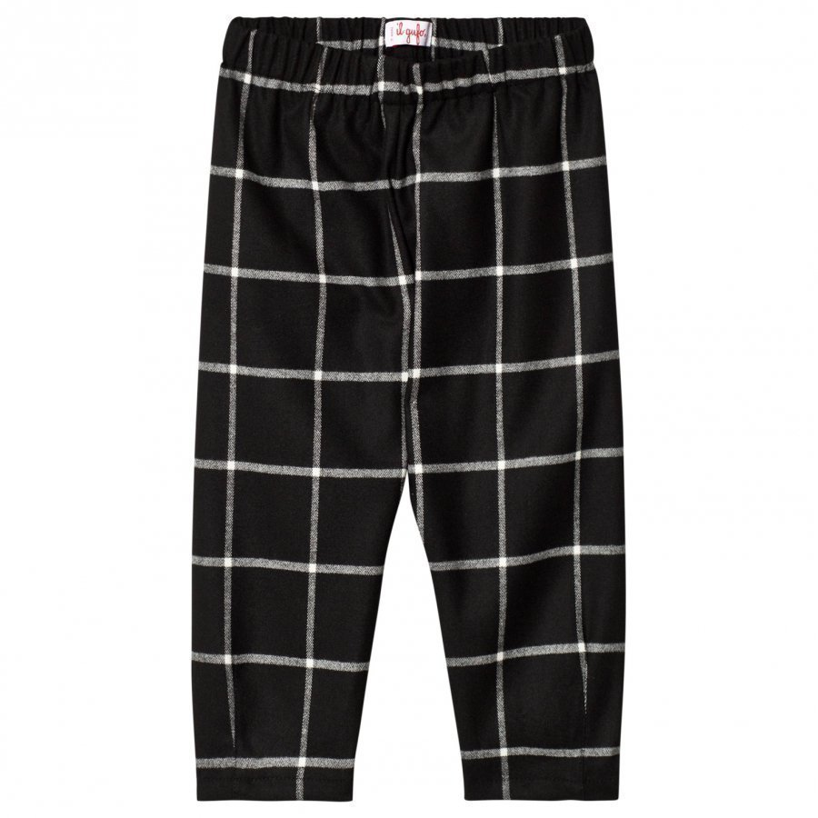 Il Gufo Black And White Check Trousers Housut
