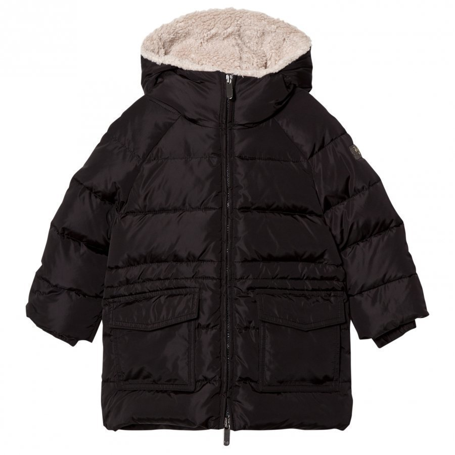 Il Gufo Black Padded Parka With Teddy Hood Lining Parkatakki