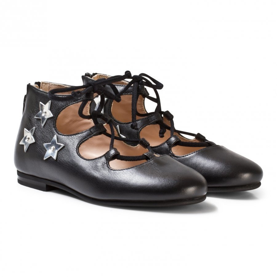 Il Gufo Black Star Applique Lace Up Pumps Slip On Kengät