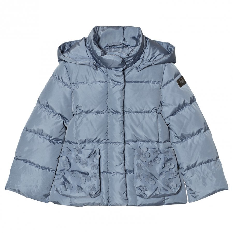 Il Gufo Blue Down Puffer Coat Petal Pockets Toppatakki