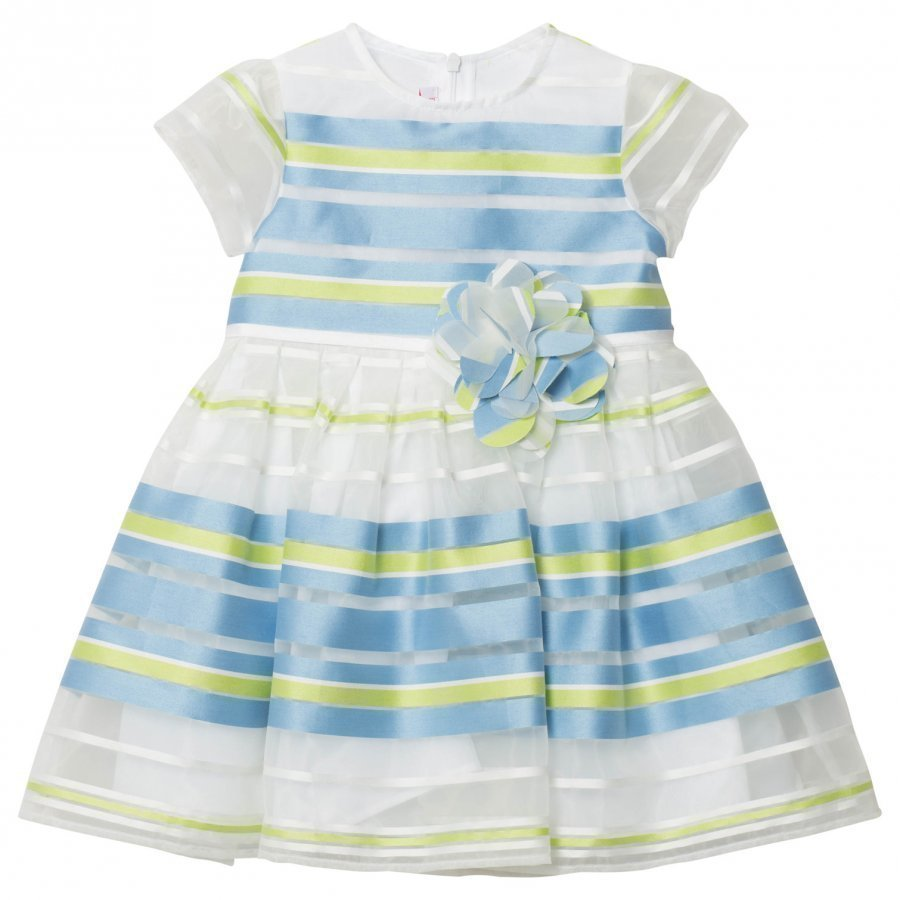 Il Gufo Blue Green Stripe Organza Dress Juhlamekko