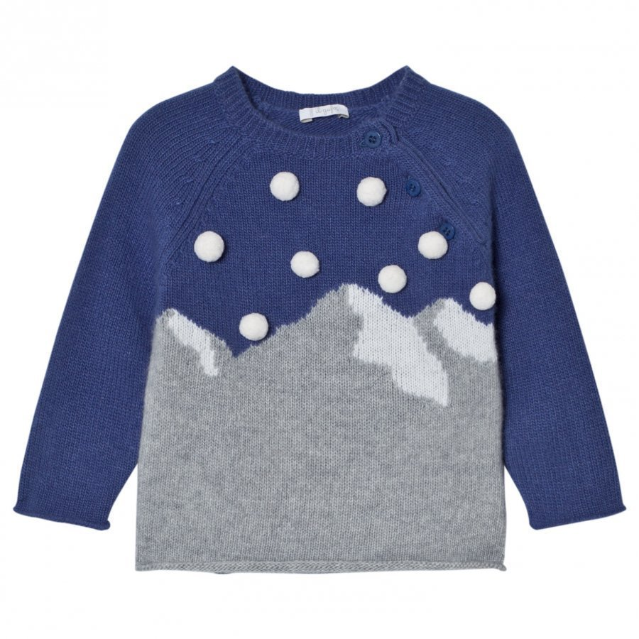 Il Gufo Blue Mountain Intarsia Pom Pom Sweater Paita