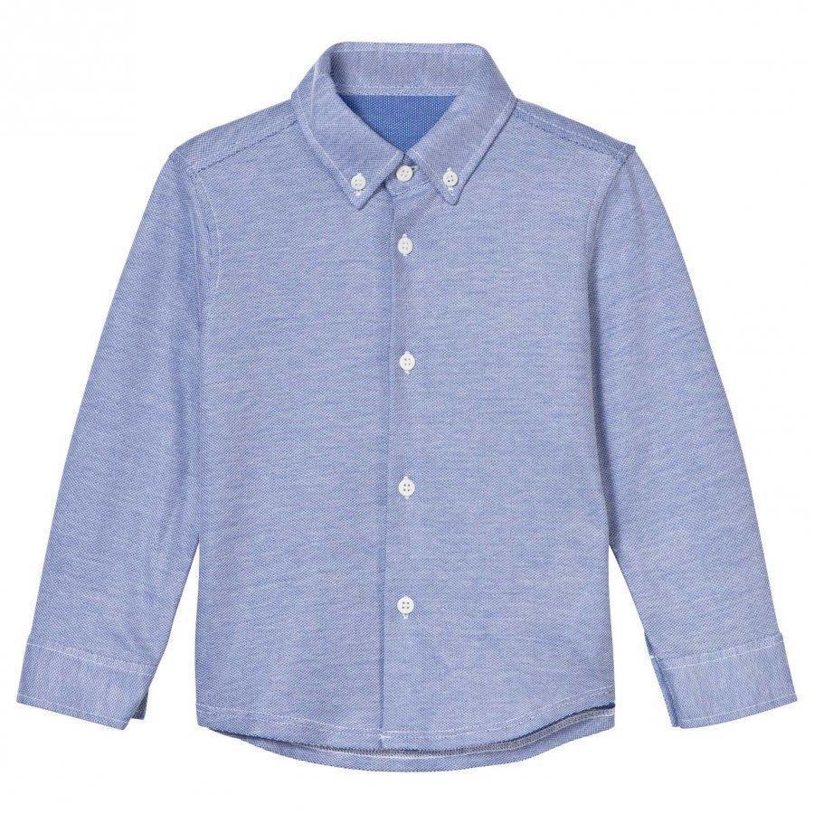 Il Gufo Blue Pique Shirt Kauluspaita