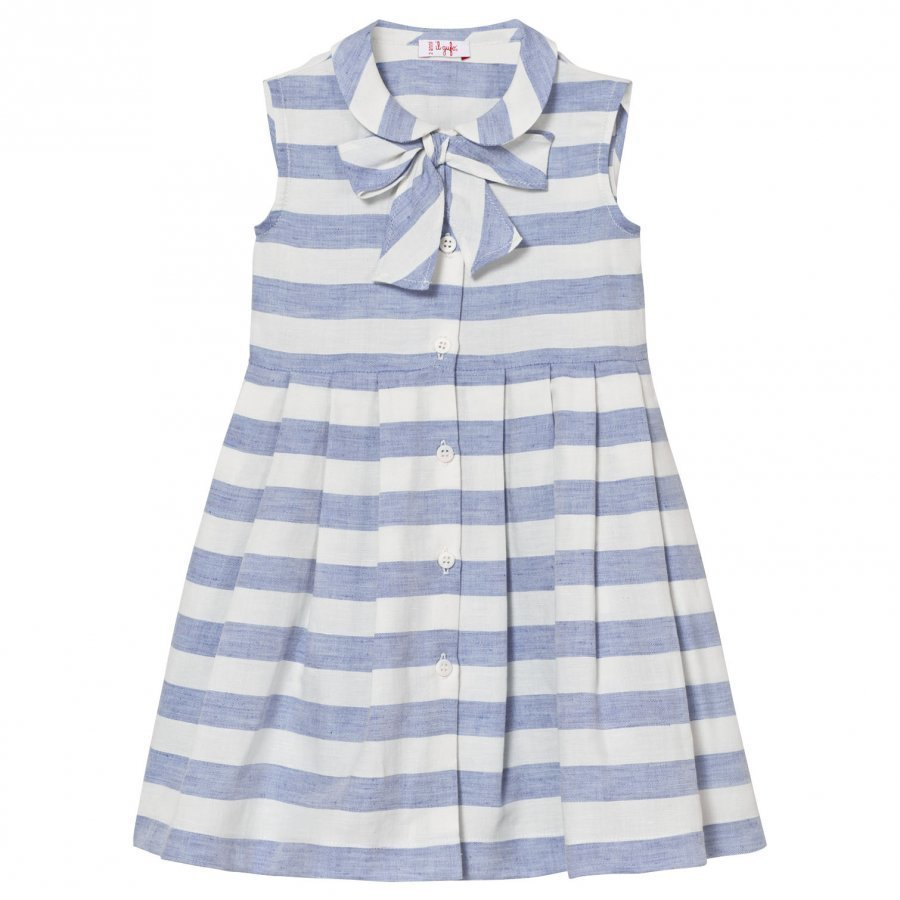 Il Gufo Blue White Stripe Sleeveless Dress Juhlamekko