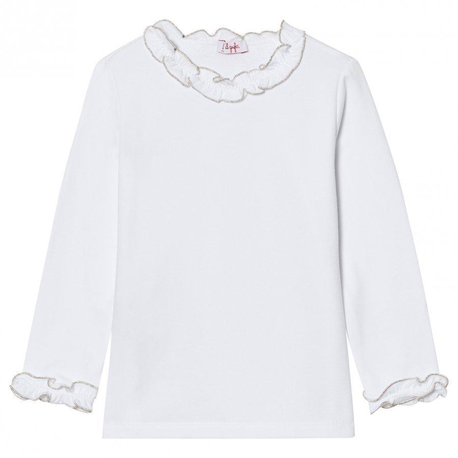 Il Gufo Frill Collar Tee White/Silver Pitkähihainen T-Paita