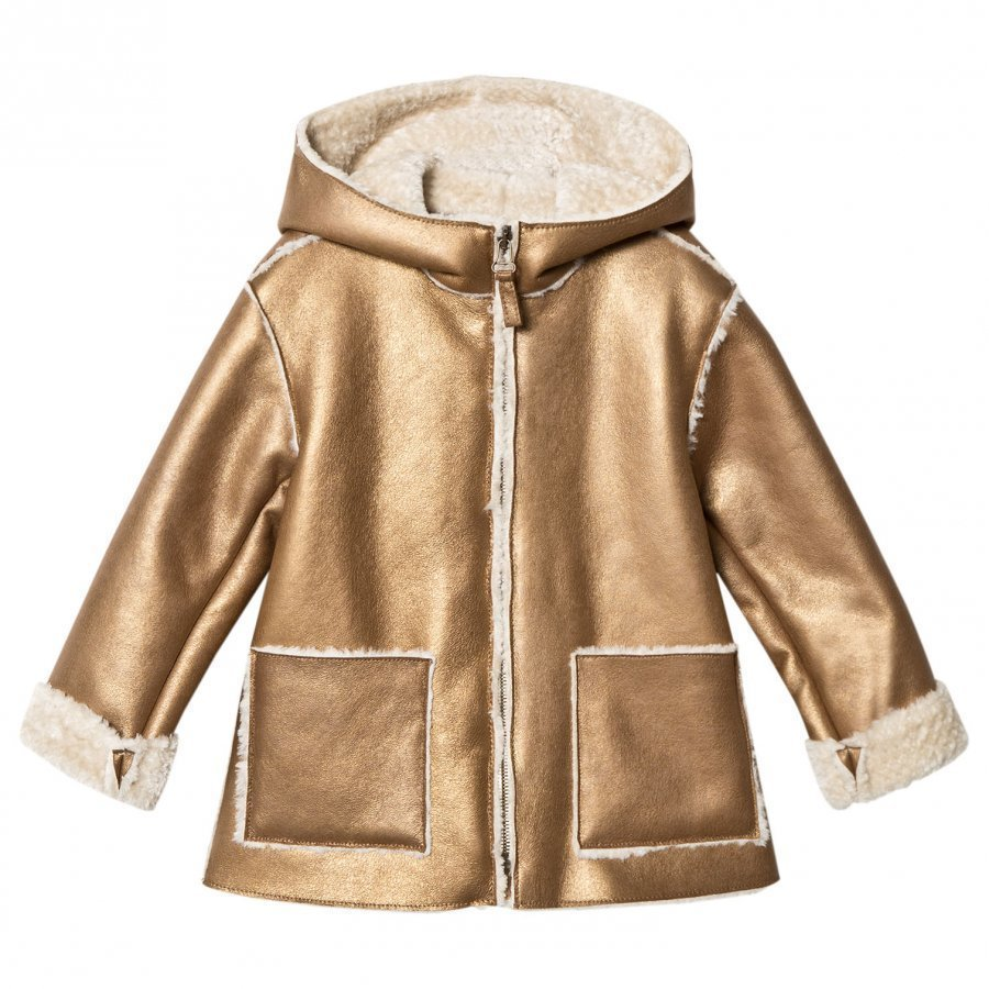 Il Gufo Gold Shearling Hooded Coat Turkis