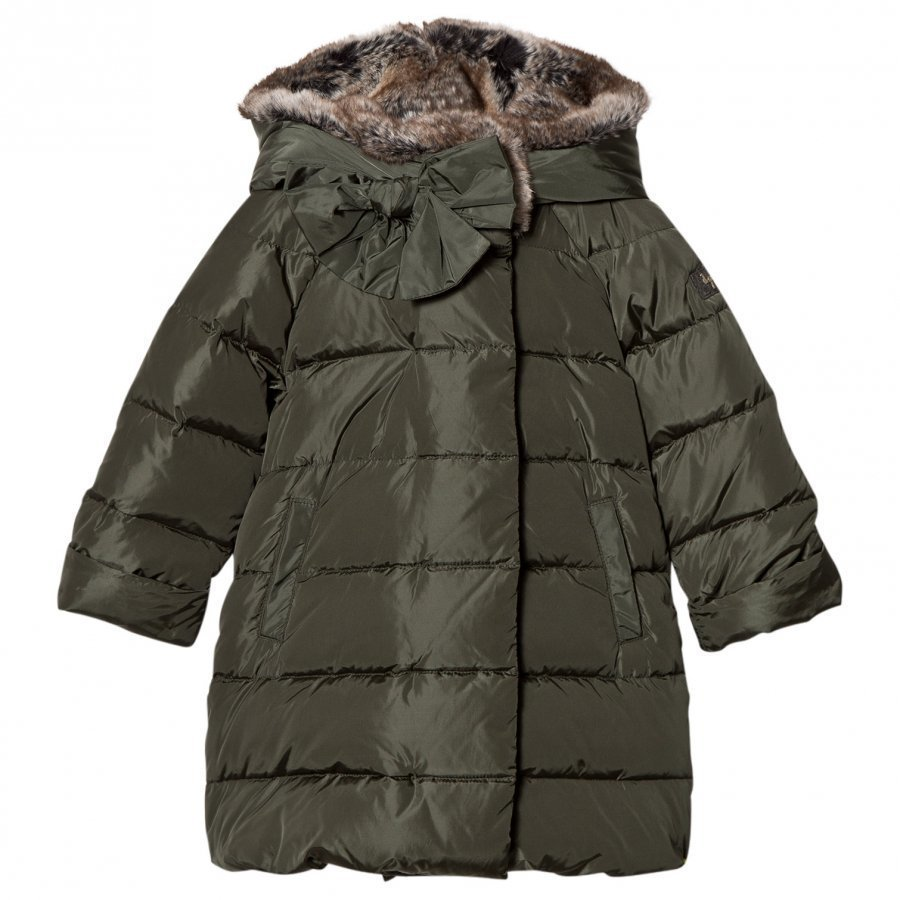 Il Gufo Green Coat With Faux Fur Hood Toppatakki