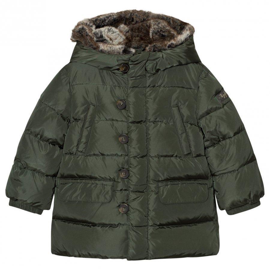 Il Gufo Green Down Puffer Coat Faux Fur Hood Toppatakki