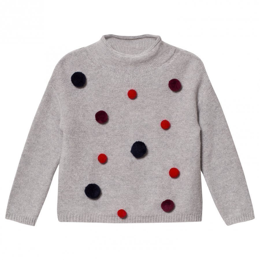 Il Gufo Grey And Multi Pom Pom Sweater Paita