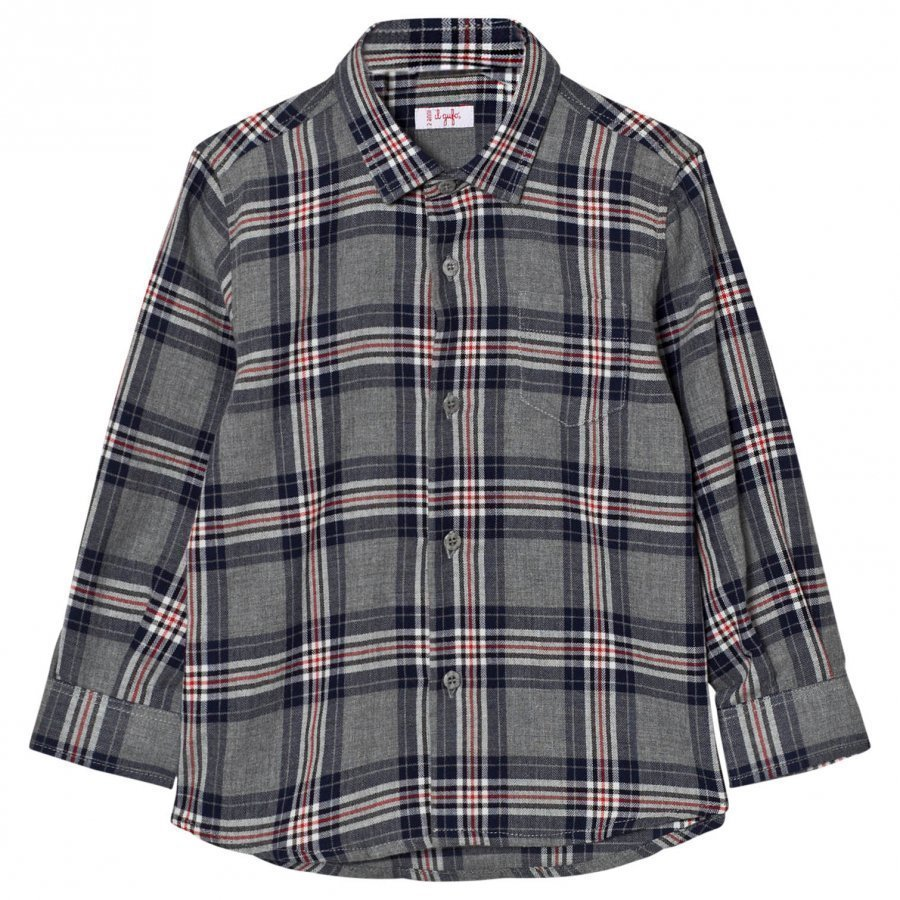 Il Gufo Grey And Navy Multi Check Shirt Kauluspaita