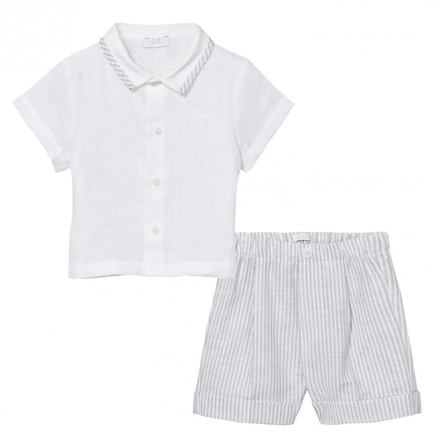 Il Gufo Grey Linen Shirt And Shorts Set Asusetti