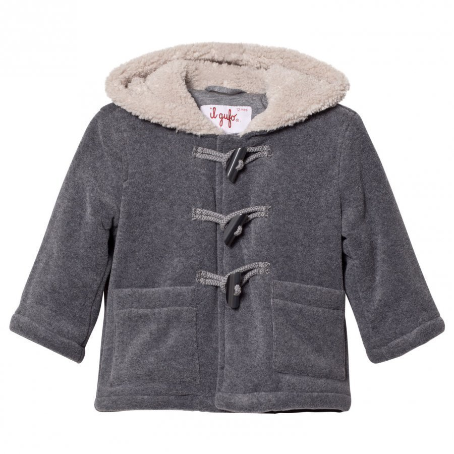 Il Gufo Grey Wool Duffle Coat With Teddy Lining Duffelitakki