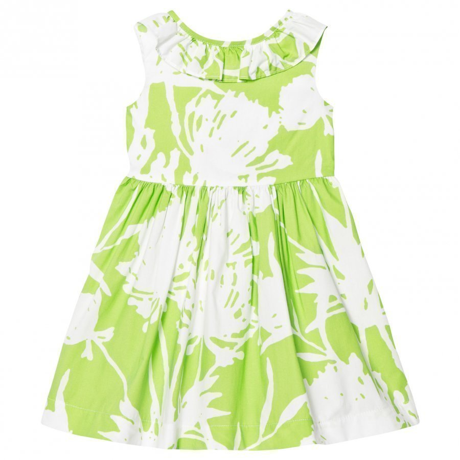Il Gufo Lime Floral Print Frill Collar Dress Juhlamekko