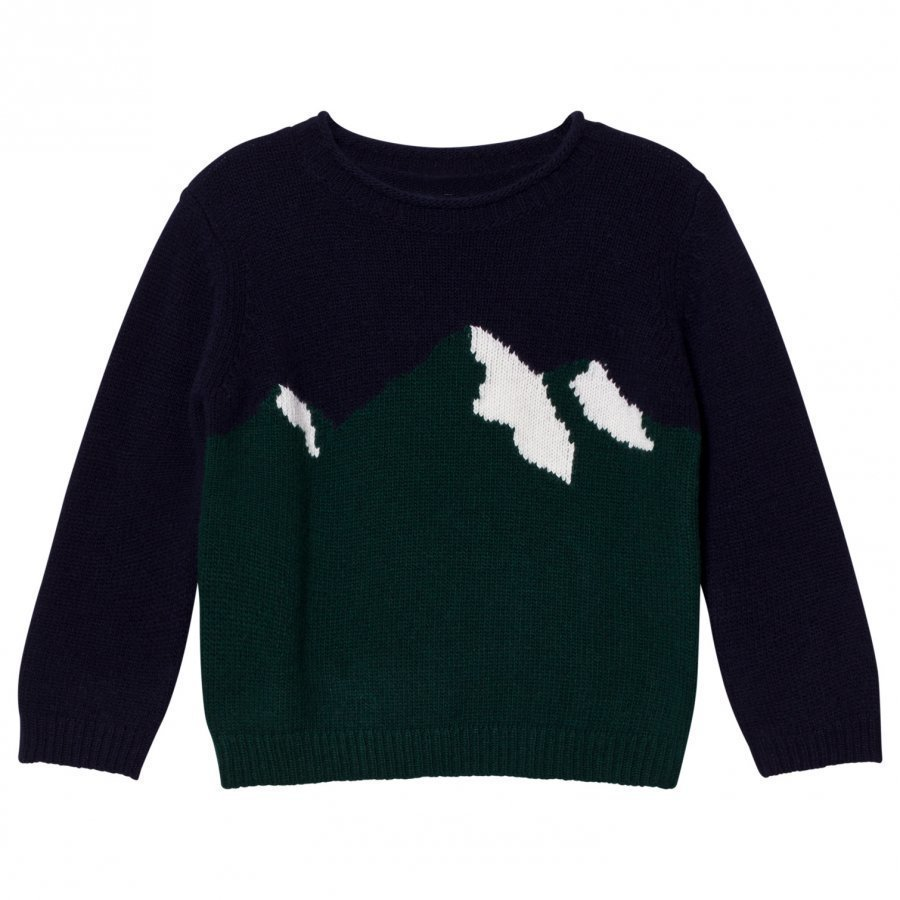 Il Gufo Navy And Green Mountain Intarsia Sweater Paita