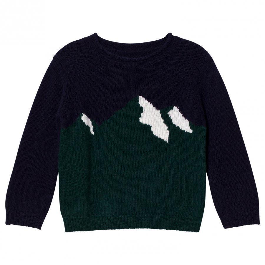 Il Gufo Navy And Green Mountain Intarsia Sweater Paita