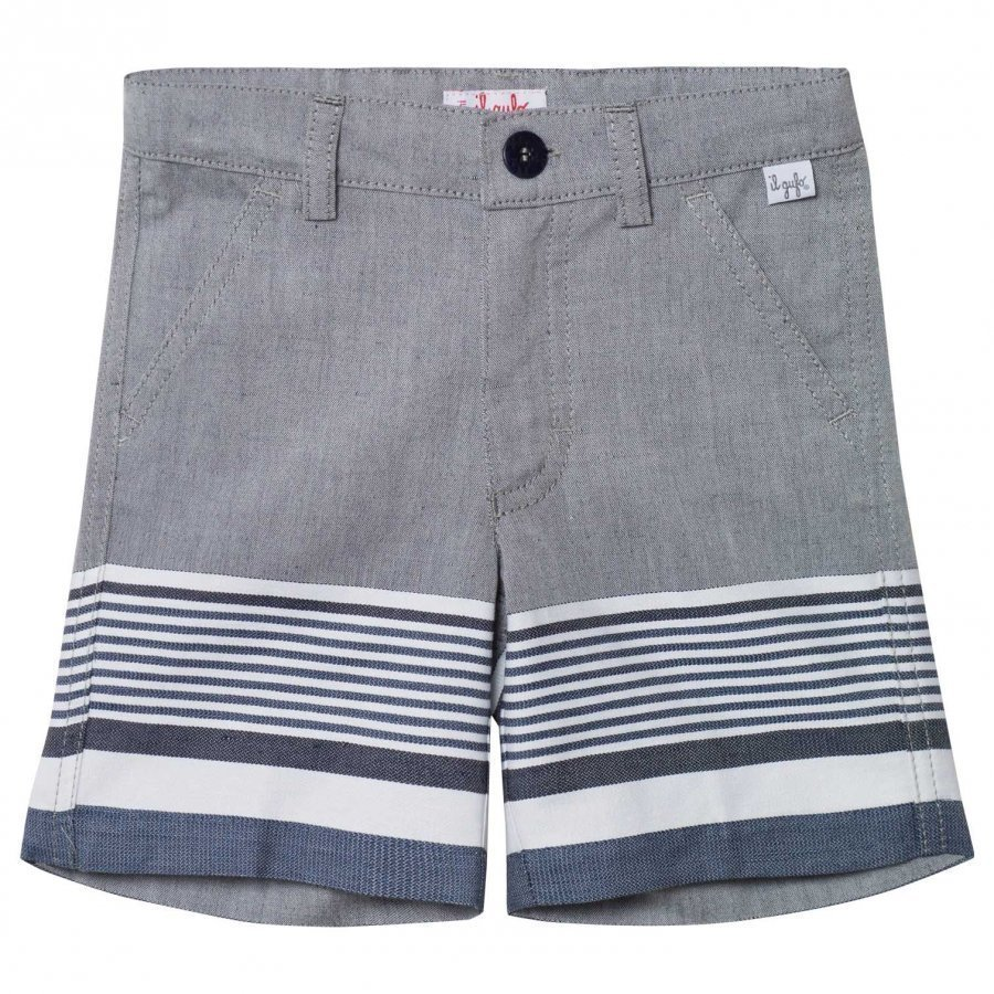 Il Gufo Navy And Grey Stripe Shorts Juhlashortsit